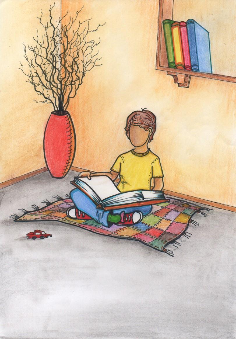 Oswaldo lendo no tapete